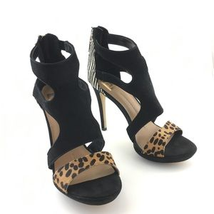 Dolce Vita Animal Print Open Toe Stiletto Heels